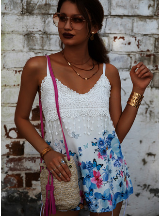 Animal Print Floral Lace Spaghetti Straps Sleeveless Casual Tank Tops