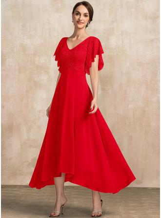 A-Linie V-Ausschnitt Knöchellang Chiffon Spitze Kleid für die Brautmutter