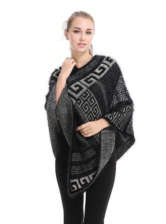 impresión geométrica de gran tamaño/simple La lana artificial Poncho