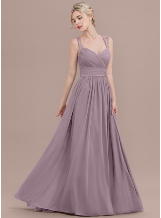 A-Line/Princess Sweetheart Sweep Train Chiffon Prom Dresses With Ruffle Lace