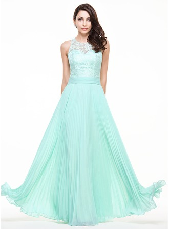 A-Line/Princess Scoop Neck Floor-Length Chiffon Lace Evening Dress With Pleated