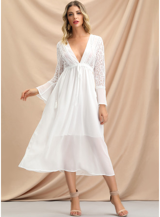 Solid A-line Long Sleeves Midi Vacation Dresses