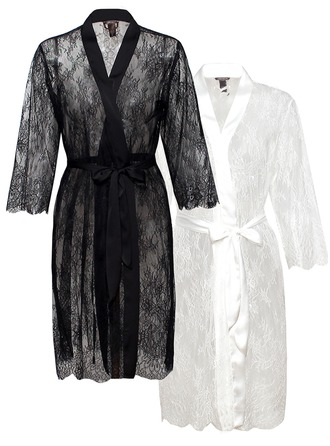 Bride Bridesmaid Blank Robes Lace Robes