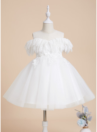 A-Line Scoop Neck Knee-length Tulle/Lace Short Sleeves Flower Girl Dress
