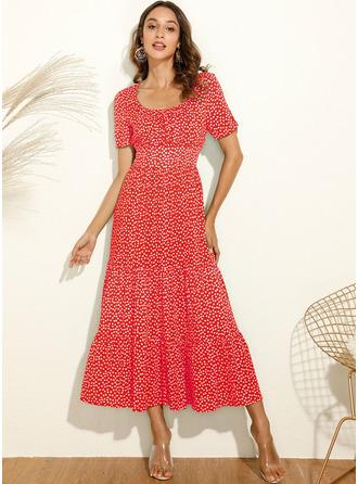 PolkaDot Square Neck Short Sleeves Midi Dresses