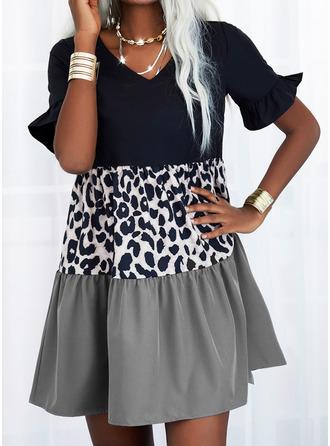 Leopard Color Block Shift Short Sleeves Mini Casual Tunic Dresses