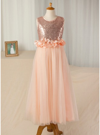 A-Line/Princess Floor-length Flower Girl Dress - Tulle/Sequined Sleeveless Scoop Neck