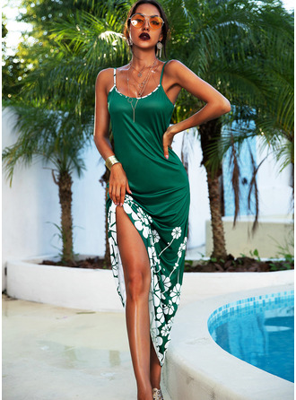 Floral Print A-line Sleeveless Maxi Casual Vacation Type Dresses