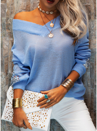 V-Neck Casual Sequins Solid Sweaters