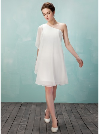 Sheath/Column One-Shoulder Knee-Length Chiffon Homecoming Dress