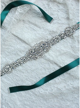 Elegant Ribbon Sash With Rhinestones