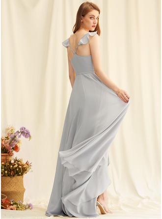 V-Neck Silver Chiffon Dresses