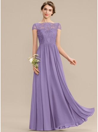 A-Line Scoop Neck Floor-Length Chiffon Lace Bridesmaid Dress