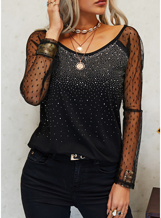 Sequins Solid Round Neck Long Sleeves Elegant Blouses