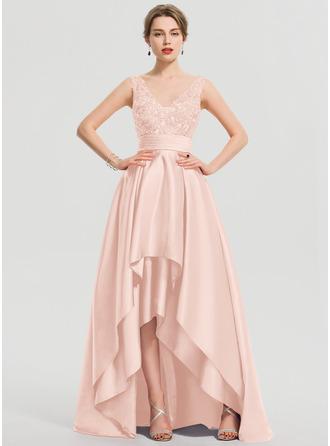 Трапеция V-образный асимметричный Атлас Платье Для Выпускного Вечера