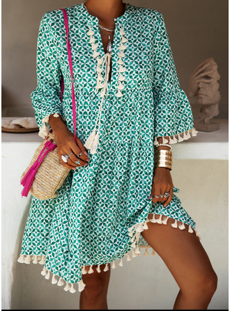 Print Shift 3/4 Sleeves Flare Sleeve Mini Boho Casual Vacation Dresses