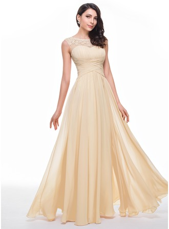A-Line/Princess Scoop Neck Floor-Length Chiffon Prom Dress With Ruffle Beading Flower(s)