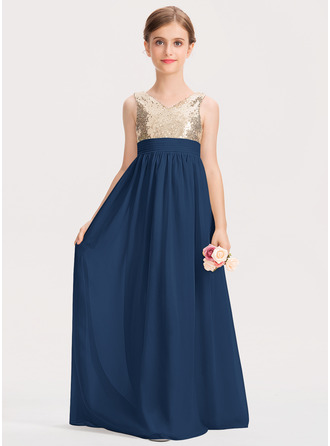 A-Line V-neck Floor-Length Chiffon Sequined Junior Bridesmaid Dress With Ruffle