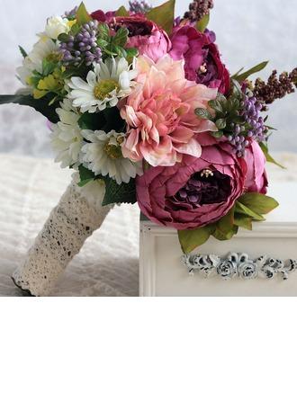 Style Classique Rond Satiné/Soie Bouquets de mariée/Bouquets de demoiselle d'honneur (vendu en une seule pièce) -
