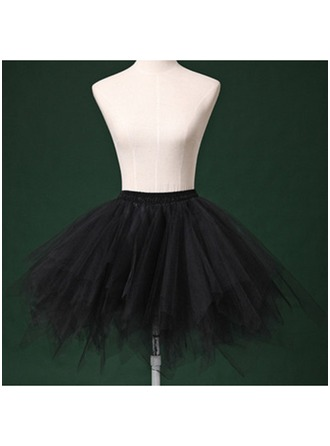 Women Tulle Netting/Satin/Chiffon Short-length 2 Tiers Bustle