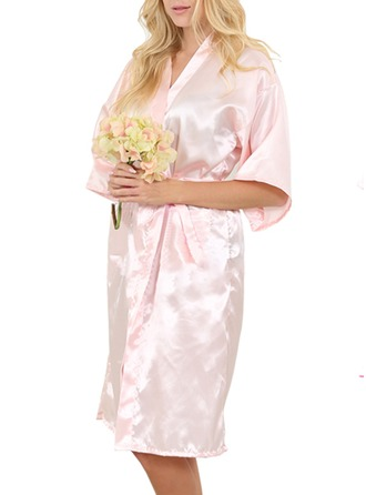 Personalized Bride Bridesmaid Flower Girl Satin With Knee-Length Personalized Robes