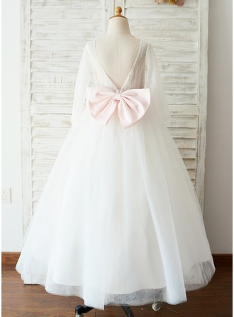A-Line/Princess Floor-length Flower Girl Dress - Tulle/Lace Long Sleeves Scoop Neck With Bow(s)/V Back (Undetachable sash)