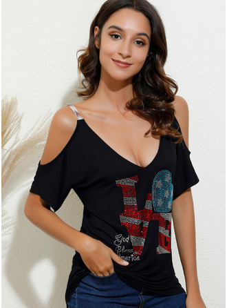 Print Short Sleeves Polyester Cold Shoulder Blouses Blouses