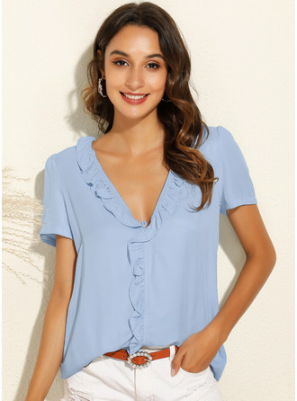 Solid Short Sleeves Polyester V Neck Blouses