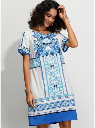 印刷 シフトドレス 半袖 ミディ 生きます カジュアル 休暇 Tシャツ ファッションドレス