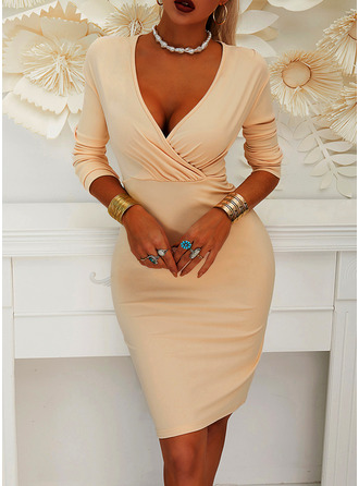Solid Bodycon Lange ermer Midi Party Elegant Penn Motekjoler