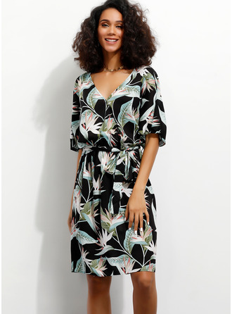Floral Print A-line 1/2 Sleeves Midi Casual Vacation Wrap Dresses
