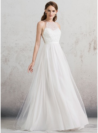 A-Line/Princess Scoop Neck Floor-Length Tulle Wedding Dress With Beading