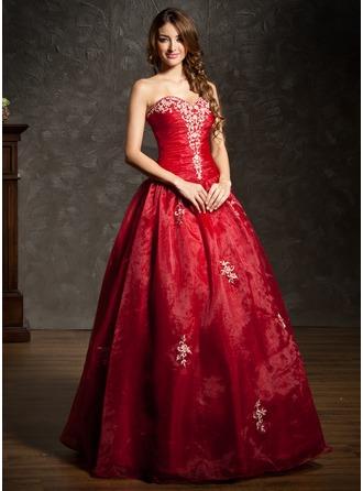 Платье для Балла В виде сердца Длина до пола Органза Пышное платье с Вышито Рябь Бисер