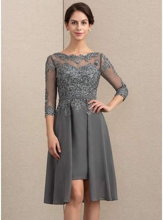 A-Line/Princess Scoop Neck Asymmetrical Chiffon Lace Mother of the Bride Dress With Beading Sequins