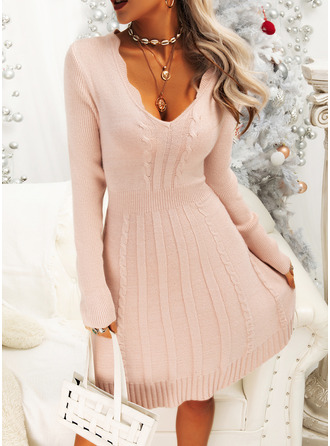 V-Neck Casual Long Solid Cable-knit Sweaters