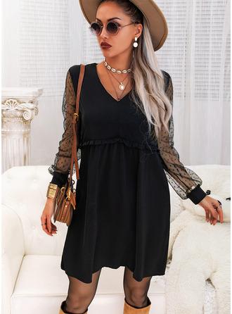 Solide Shiftjurken Lange Mouwen Medium Zwart jurkje Casual Tunieken ()