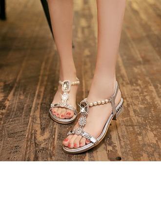De mujer Cuero Tacón plano Sandalias con Crystal Perlas de imitación zapatos