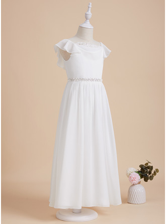 A-Line Scoop Neck Ankle-length With Beading Chiffon/Lace Flower Girl Dress