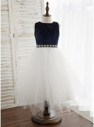 A-Line Tea-length Flower Girl Dress - Tulle/Velvet Sleeveless Scoop Neck With Bow(s)/Rhinestone