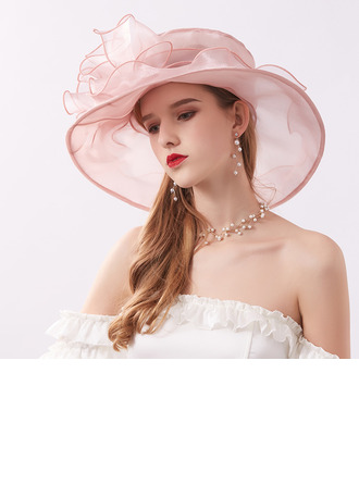 Ladies' Elegant/Nice Organza With Flower Beach/Sun Hats/Kentucky Derby Hats/Tea Party Hats