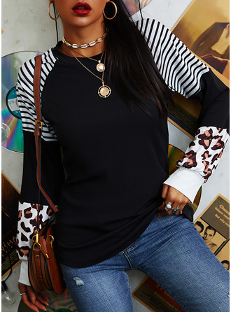 Striped Leopard Round Neck Long Sleeves Sweatshirt (1001254387)