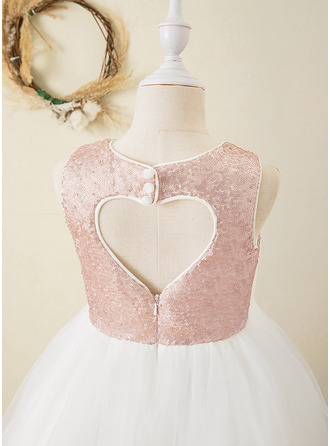 Ball-Gown/Princess Ankle-length Flower Girl Dress - Organza/Sequined Sleeveless Scoop Neck With Back Hole