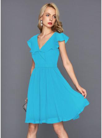 A-Line V-neck Knee-Length Chiffon Homecoming Dress With Cascading Ruffles