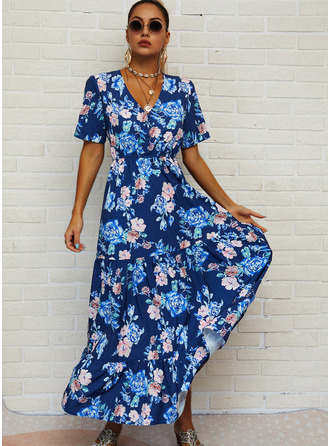 Floral Print A-line Short Sleeves Maxi Casual Vacation Skater Dresses