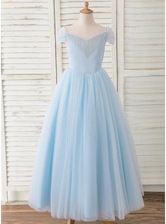 De Baile/Princesa Longos Vestidos de Menina das Flores - Cetim/Tule Sem magas Off-the-ombro com Beading/Curvado