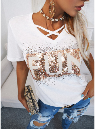 Figure Sequins V-Neck Short Sleeves Casual Blouses