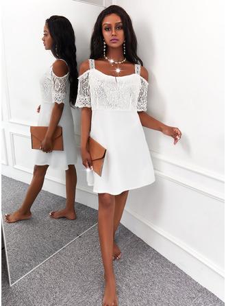 Solid A-line kjole 1/2-ermer Midi Elegant skater Motekjoler