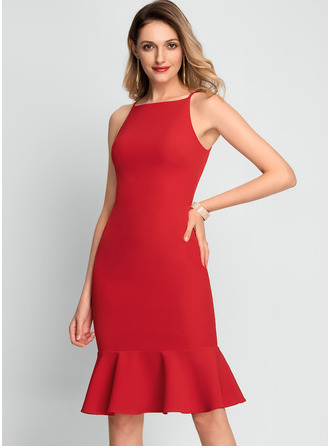 Square Neck Red Stretch Crepe Stretch Crepe Dresses