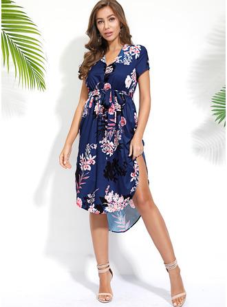 Floral Print Sheath Short Sleeves Asymmetrical Boho Casual Vacation Dresses