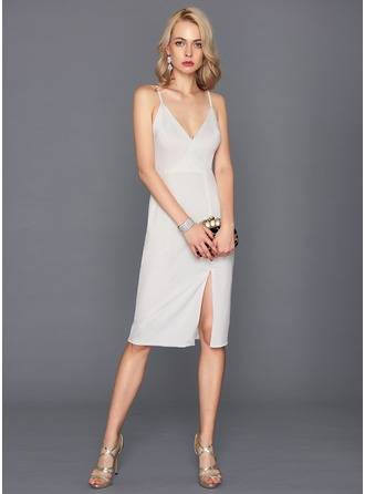 Sheath/Column V-neck Knee-Length Jersey Cocktail Dress With Split Front